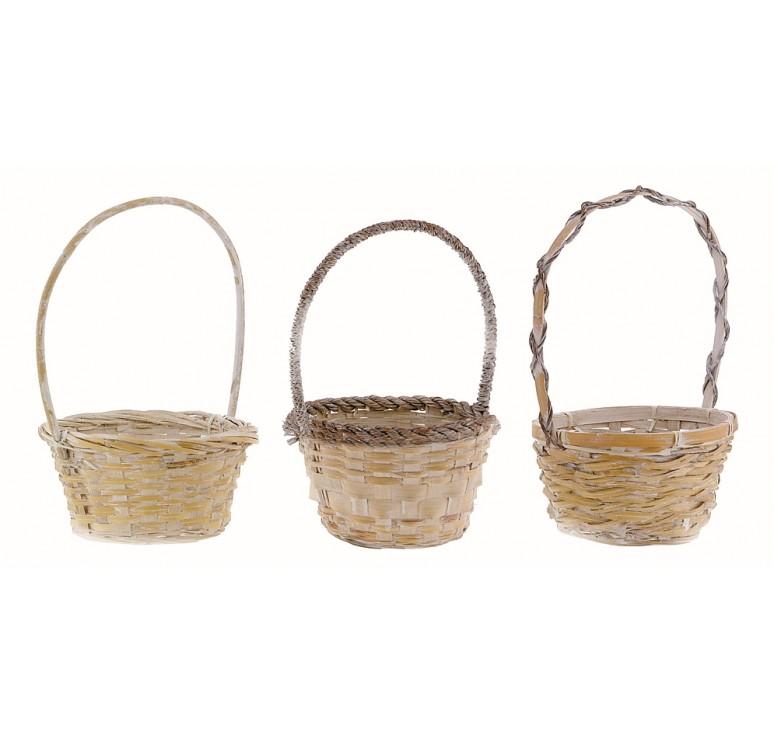 "10"" White Wash Round Bamboo Basket"