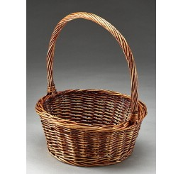 """12.5"""" Round Willow Single Basket Brown Stain"""