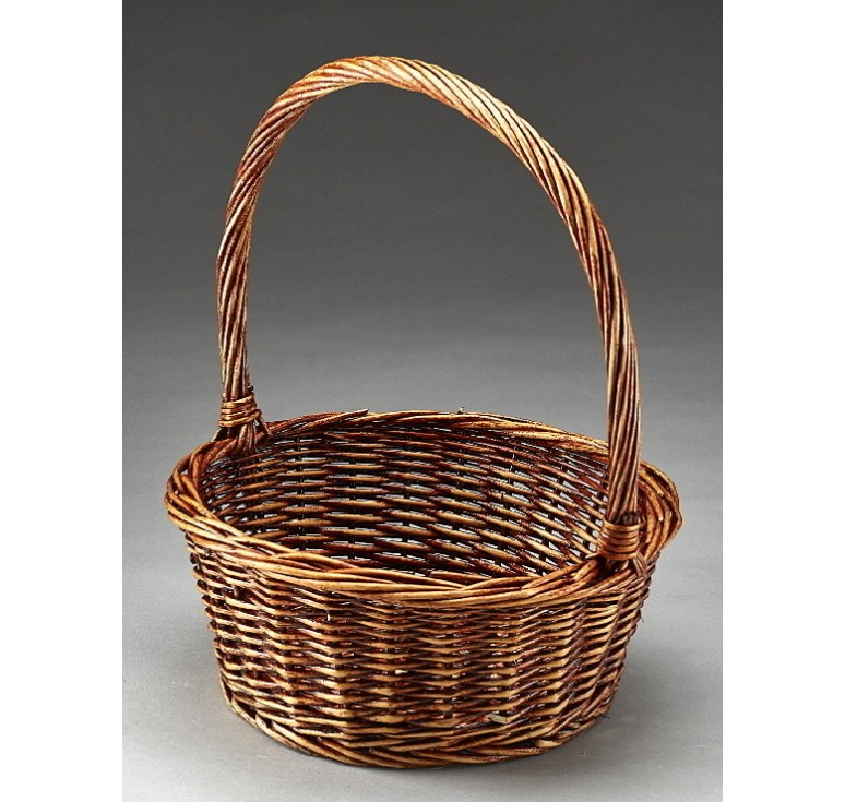"""12.5"""" Round Willow Single Basket Brown Stain *Very Low Inventory"""
