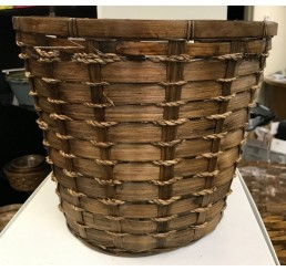 """10"""" Bamboo Planter Basket / Pot Cover Brown Stain"""