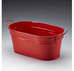 Oval Metal Pail - Red
