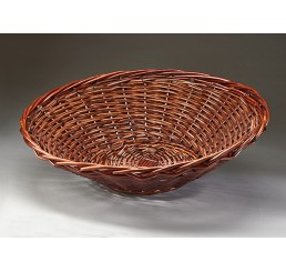 Brown Stain Round Willow Tapered Tray