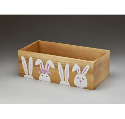 Rect Wood Container w/ Rabbit