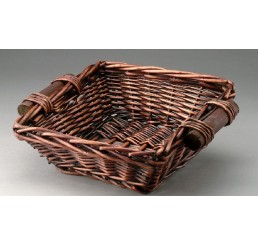 Brown Stain Square Willow Tray with Wooden Ear Handles