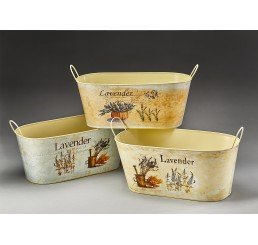 Lavender Design Oval Metal Containers