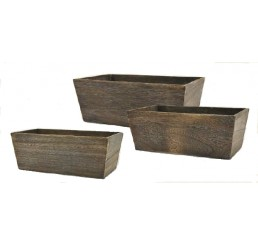 Brown Stain Set/3 Wooden Container