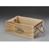 Brown Stain Rectangular Wooden Container with Rope Ear Handles