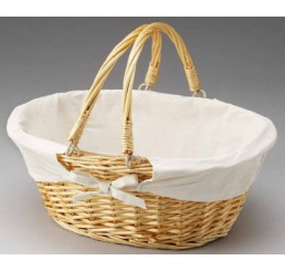 Oval Willow with Fabric Lining and Double Drop-Down Handles