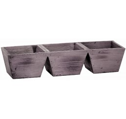 Three Compartment Wooden Container