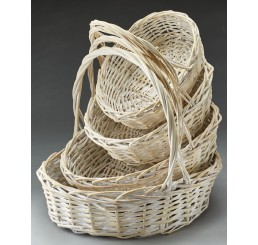White Wash Oval Willow Set/4
