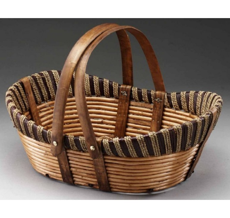 """18"""" Willow, Wood, and Rope Oval Basket with Drop Handles"""