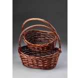 Set/2 Brown Stain Oval Willow