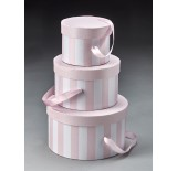 Water-Resistant Pink/White Round Set/3 Box with Attached Ribbon