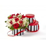 Water-Resistant Red/Black/White Round Set/3 Box with Attached Ribbon*