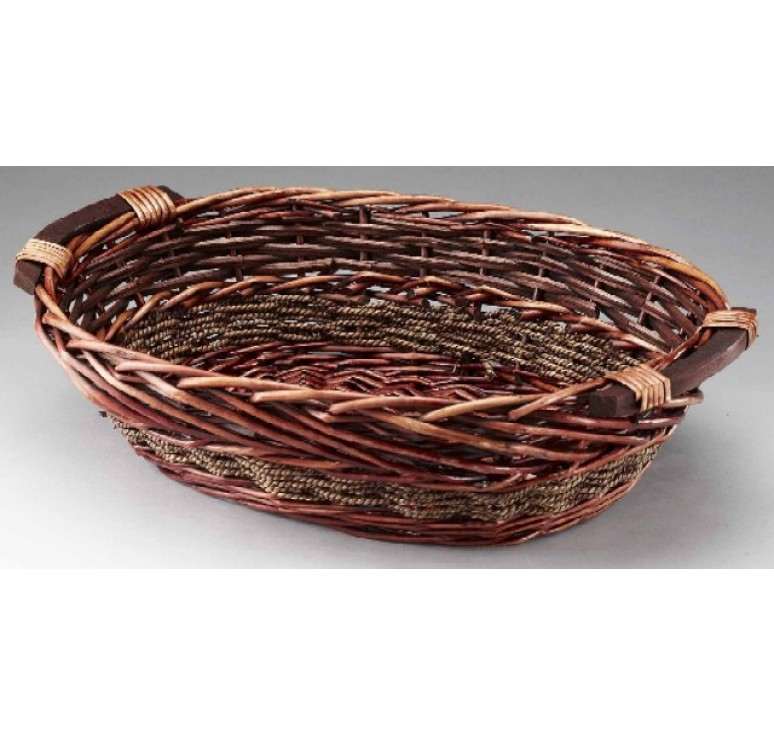 Brown Stain Willow/Rope Tray with Wooden Ear Handles