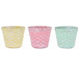 3 ASST COLOR BAMBOO POT COVER