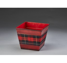 """Square Metal Container with Plaid Insert - 7.25"""""""